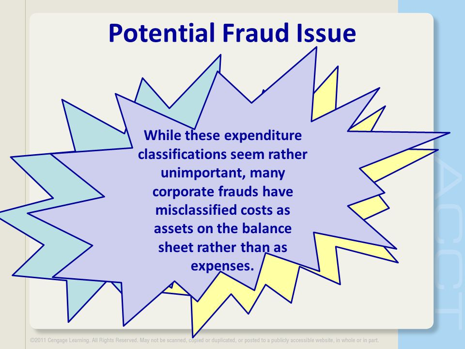 Potential Fraud Issue While these expenditure classifications seem rather unimportant, many corporate frauds have misclassified costs as assets on the balance sheet rather than as expenses.