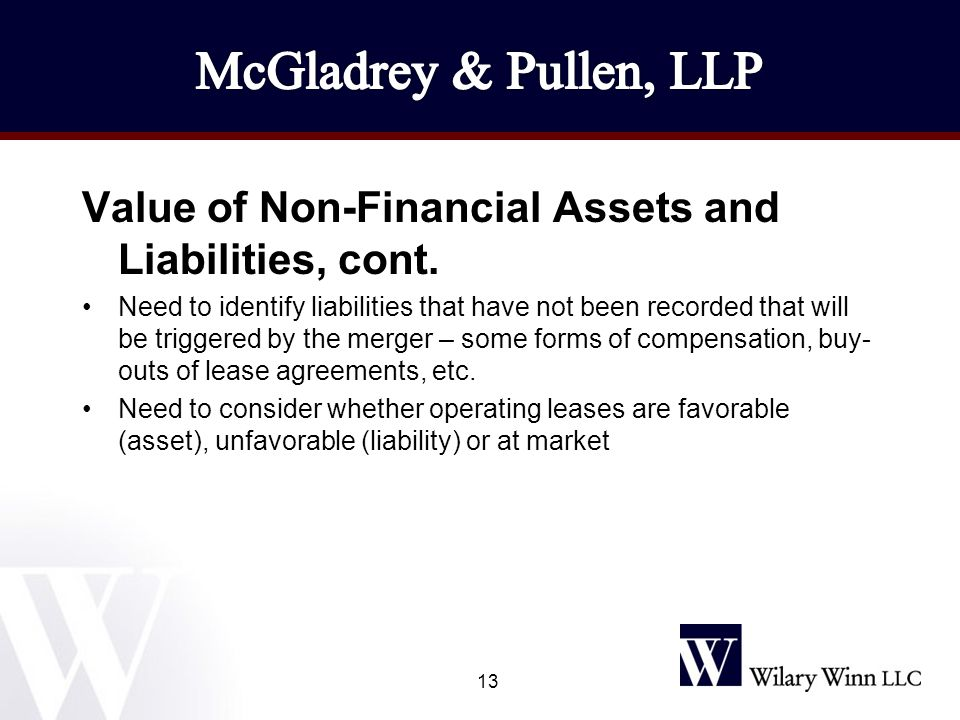 Value of Non-Financial Assets and Liabilities, cont.