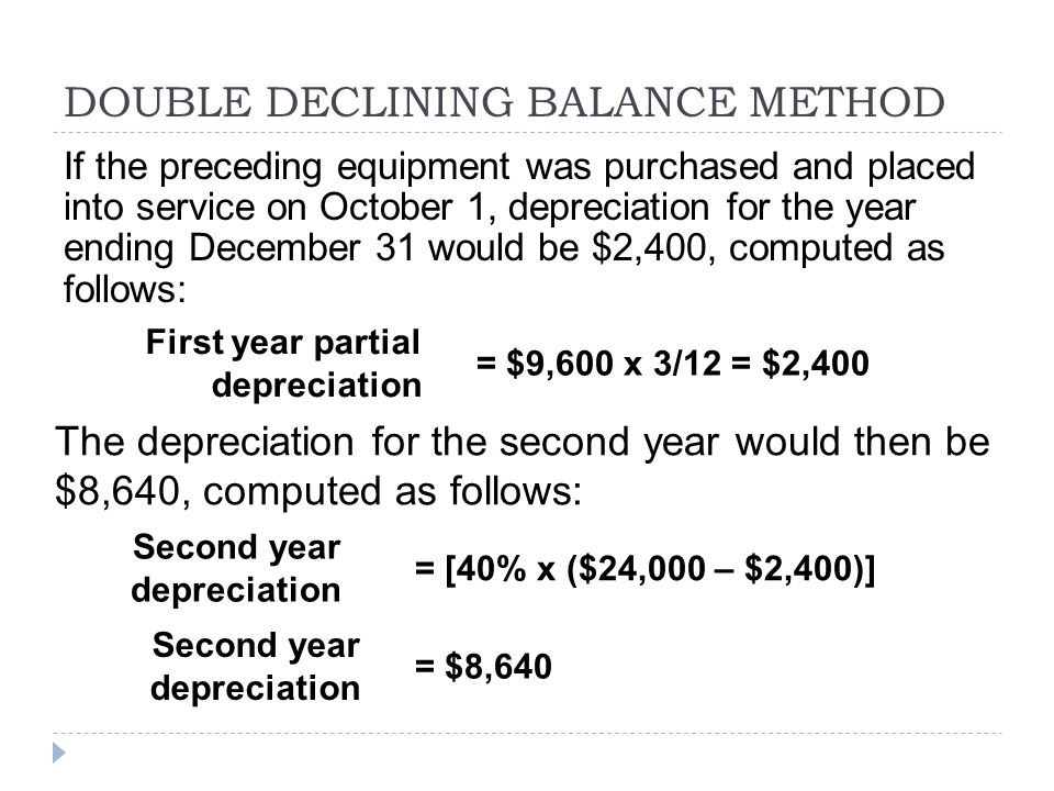 DOUBLE DECLINING BALANCE METHOD If the preceding equipment was purchased and placed into service on October 1, depreciation for the year ending Decemb