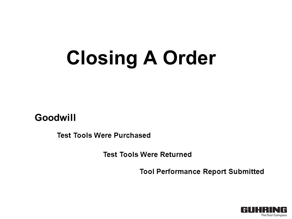 Closing A Order Goodwill Test Tools Were Purchased Test Tools Were Returned Tool Performance Report Submitted