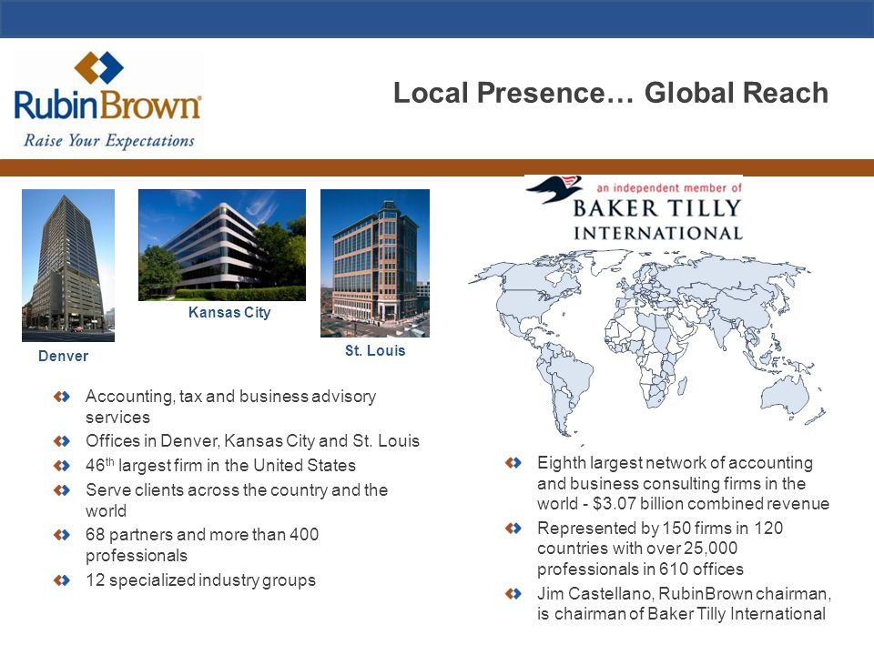 Local Presence… Global Reach Accounting, tax and business advisory services Offices in Denver, Kansas City and St.