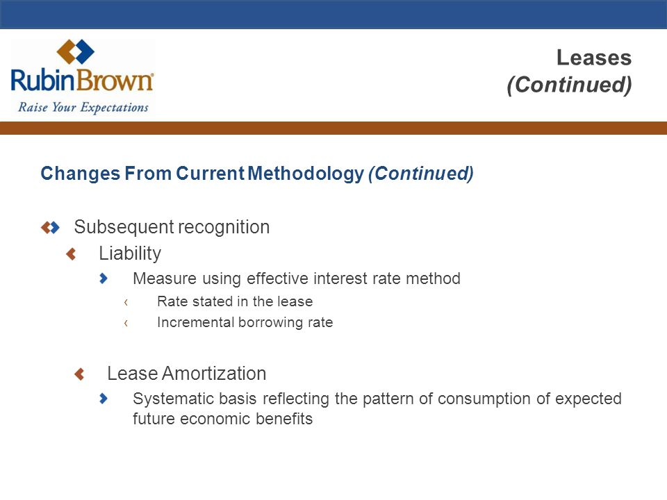 Leases (Continued) Changes From Current Methodology (Continued) Subsequent recognition Liability Measure using effective interest rate method ‹Rate stated in the lease ‹Incremental borrowing rate Lease Amortization Systematic basis reflecting the pattern of consumption of expected future economic benefits