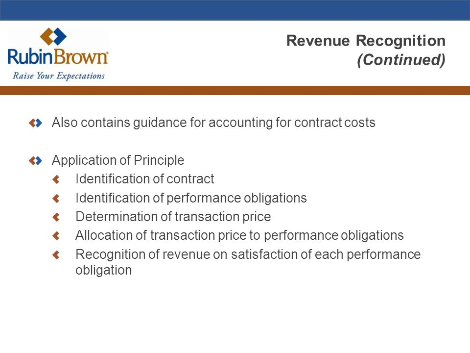 Revenue Recognition (Continued) Also contains guidance for accounting for contract costs Application of Principle Identification of contract Identific