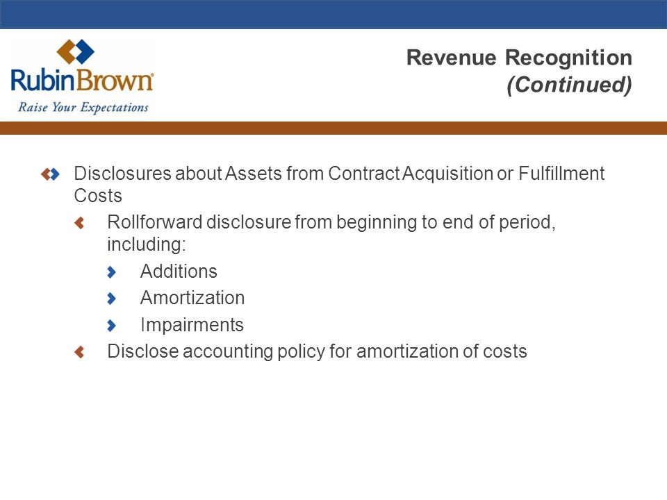 Revenue Recognition (Continued) Disclosures about Assets from Contract Acquisition or Fulfillment Costs Rollforward disclosure from beginning to end o