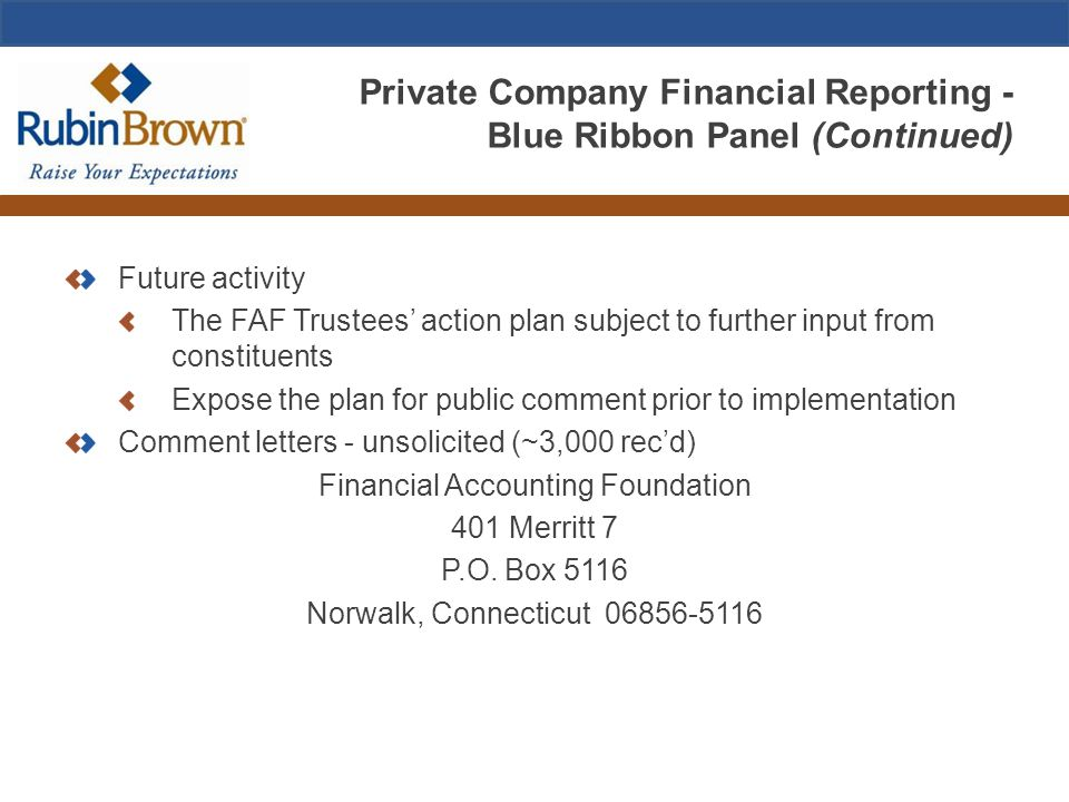 Private Company Financial Reporting - Blue Ribbon Panel (Continued) Future activity The FAF Trustees' action plan subject to further input from consti