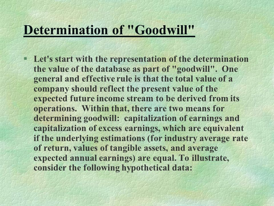 Determination of Goodwill §Let s start with the representation of the determination the value of the database as part of goodwill .