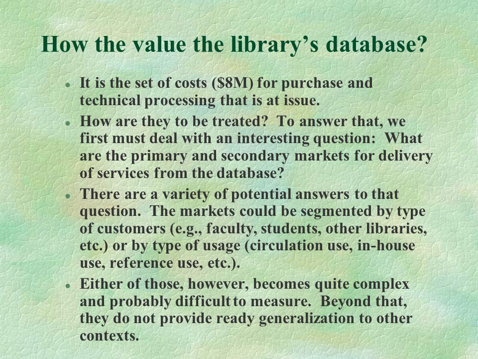 How the value the library's database.