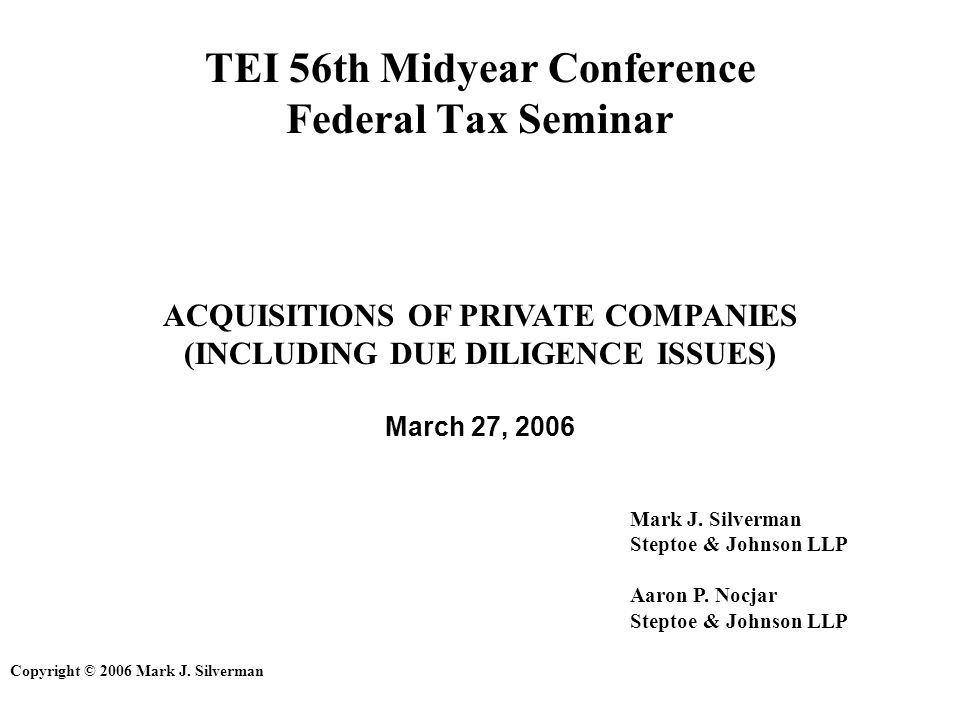 192 Due Diligence Issues Typical Items to Review (cont.) –All tax returns (and workpapers) for all open years In closely-held companies, this may include personal returns of owners as well.