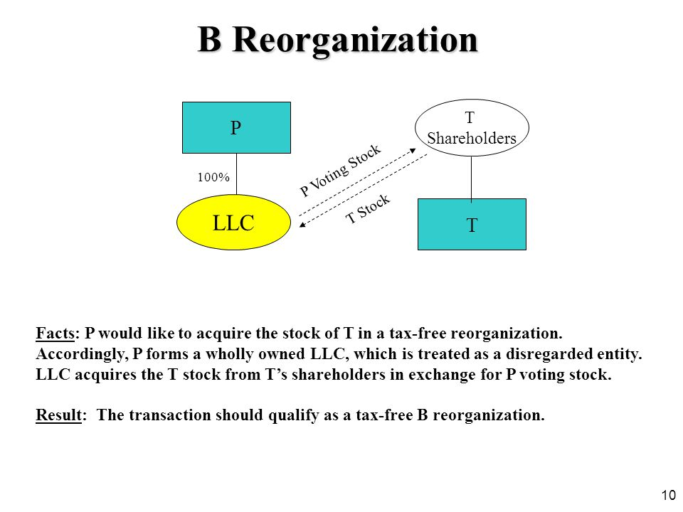 10 Facts: P would like to acquire the stock of T in a tax-free reorganization. Accordingly, P forms a wholly owned LLC, which is treated as a disregar