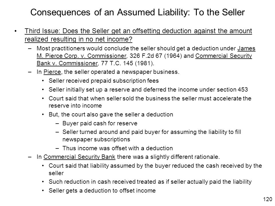 120 Consequences of an Assumed Liability: To the Seller Third Issue: Does the Seller get an offsetting deduction against the amount realized resulting