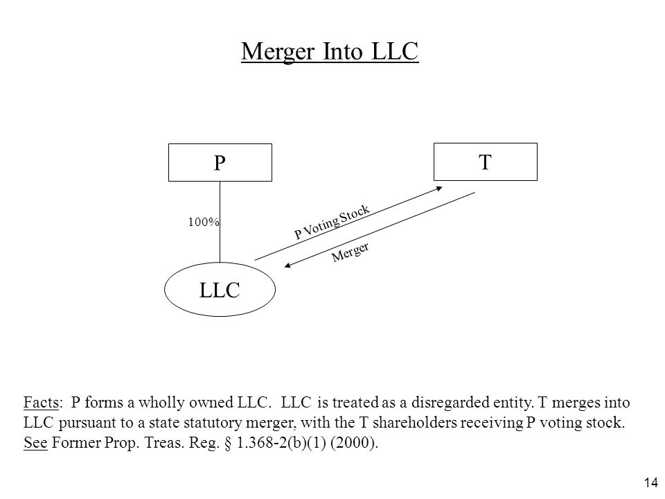 14 Merger Into LLC Facts: P forms a wholly owned LLC. LLC is treated as a disregarded entity. T merges into LLC pursuant to a state statutory merger,