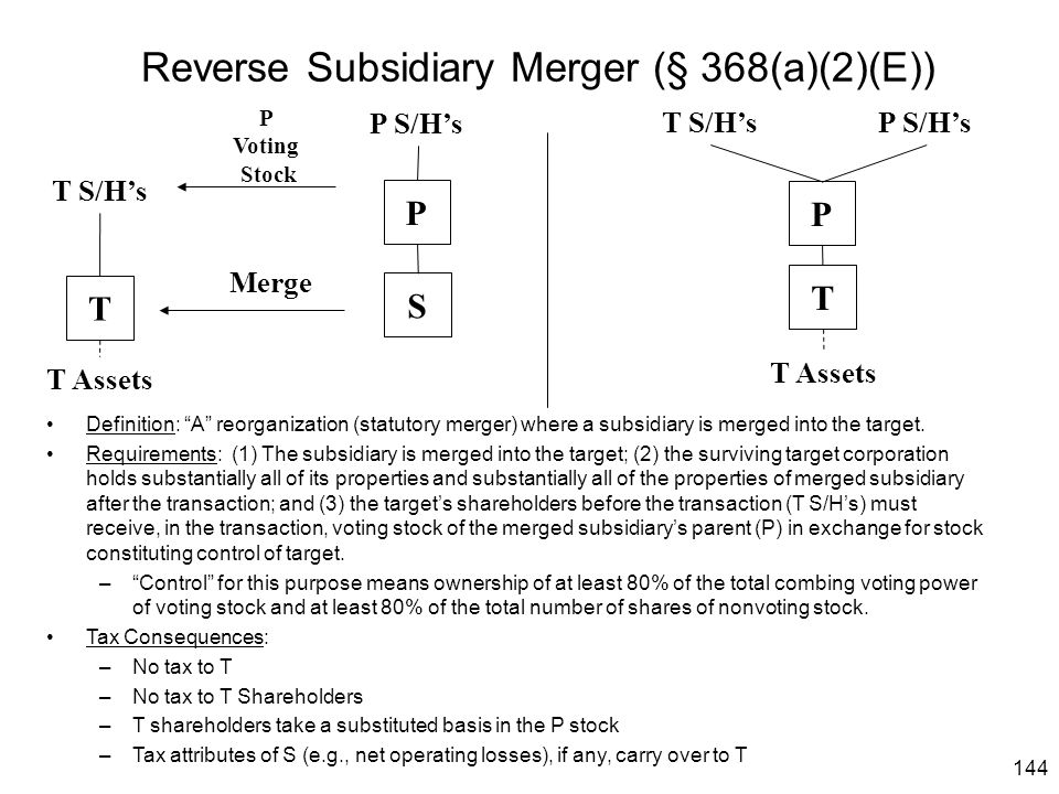 """144 Reverse Subsidiary Merger (§ 368(a)(2)(E)) Definition: """"A"""" reorganization (statutory merger) where a subsidiary is merged into the target. Require"""