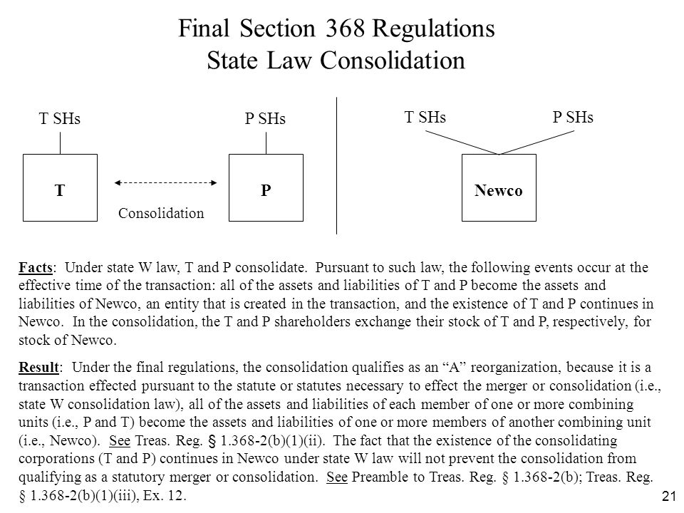 21 Final Section 368 Regulations State Law Consolidation T Consolidation P P SHs Newco T SHsP SHs T SHs Facts: Under state W law, T and P consolidate.