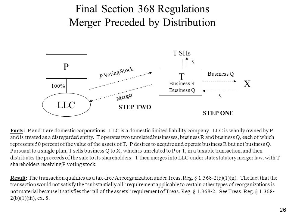 26 Final Section 368 Regulations Merger Preceded by Distribution Facts: P and T are domestic corporations. LLC is a domestic limited liability company