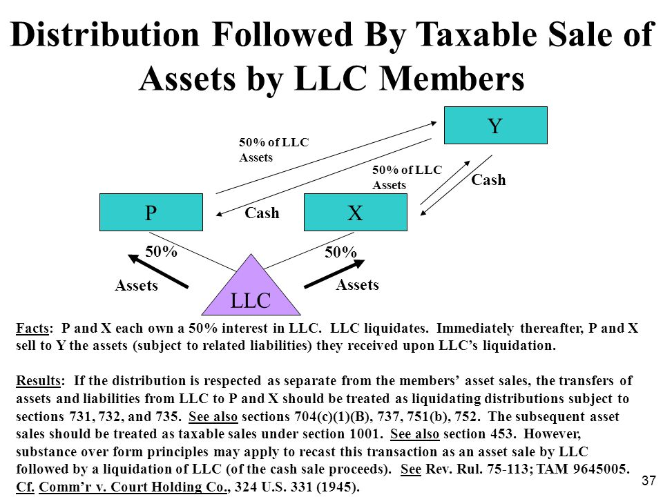 37 Distribution Followed By Taxable Sale of Assets by LLC Members Facts: P and X each own a 50% interest in LLC. LLC liquidates. Immediately thereafte