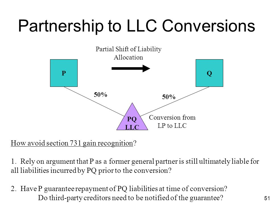 51 Partnership to LLC Conversions PQ PQ LLC 50% How avoid section 731 gain recognition? 1. Rely on argument that P as a former general partner is stil