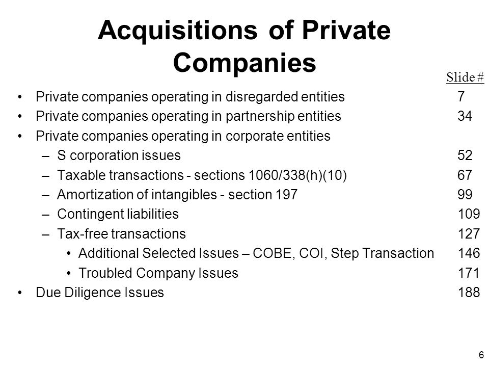 137 C Reorganization Tax Consequences: –No tax to T on the exchange or the liquidation –No tax to T shareholders –T shareholders take a substituted basis in the P stock –P takes a carryover basis in the T assets –Tax year of T ends on liquidation –Tax attributes of T (e.g., net operating losses) carry over to P T P Stock T Assets P S/H'sT S/H's T Assets P S/H's T Assets P P T T S/H's P S/H's T Assets P T S/H's Liquidates