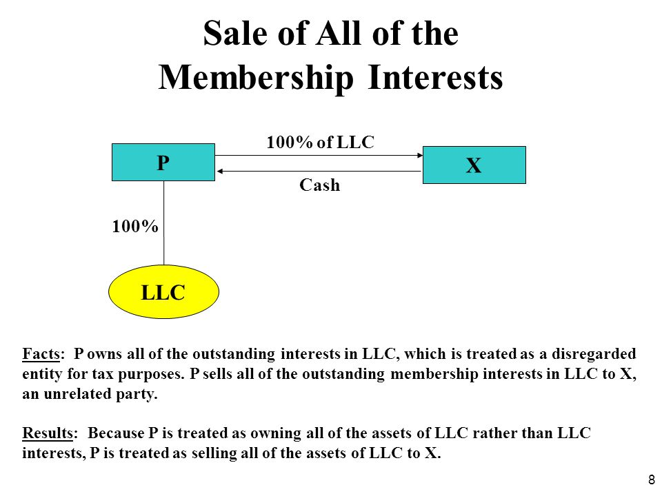 8 Facts: P owns all of the outstanding interests in LLC, which is treated as a disregarded entity for tax purposes. P sells all of the outstanding mem