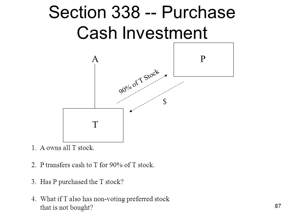 87 Section 338 -- Purchase Cash Investment T PA 90% of T Stock $ 1. A owns all T stock. 2. P transfers cash to T for 90% of T stock. 3. Has P purchase