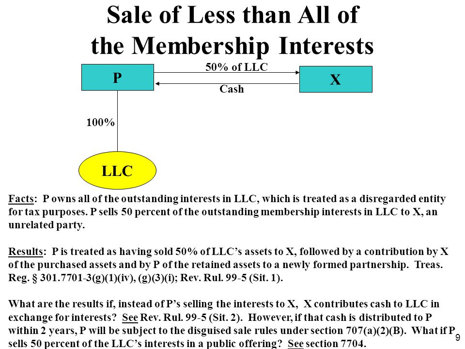 50 Partnership to LLC Conversions PQ PQ LLC 50% Facts: PQ converts under state law from a limited partnership to a limited liability company.