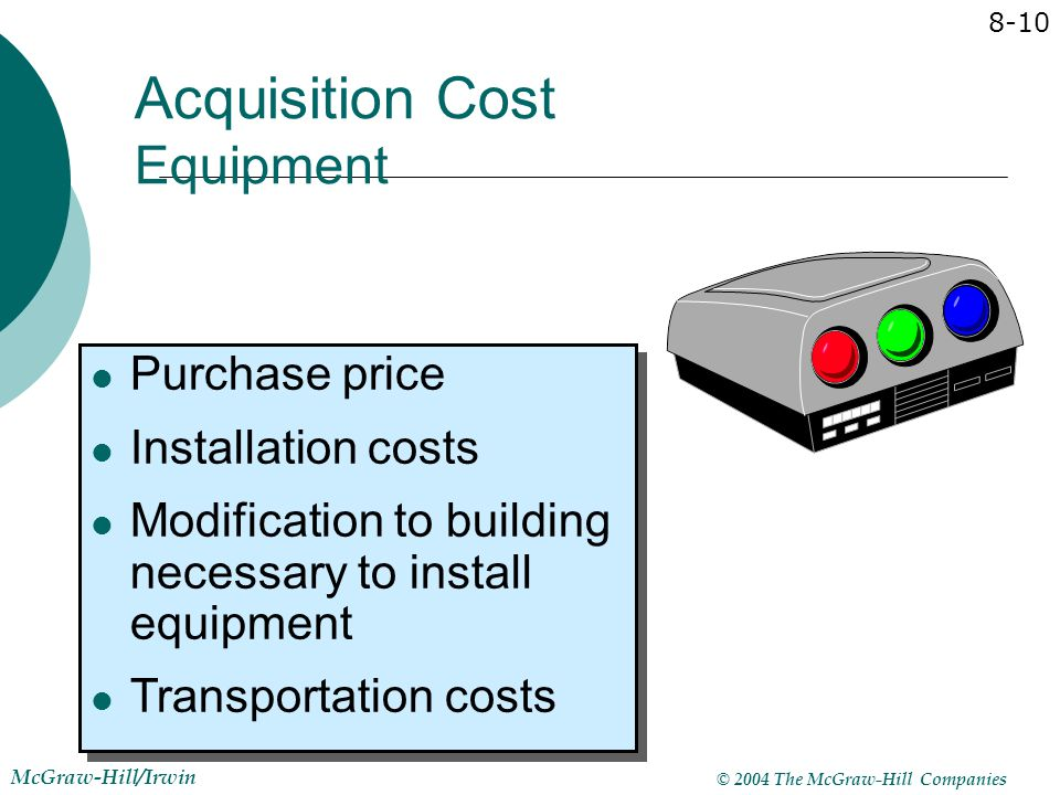 © 2004 The McGraw-Hill Companies McGraw-Hill/Irwin 8-10 Purchase price Installation costs Modification to building necessary to install equipment Tran