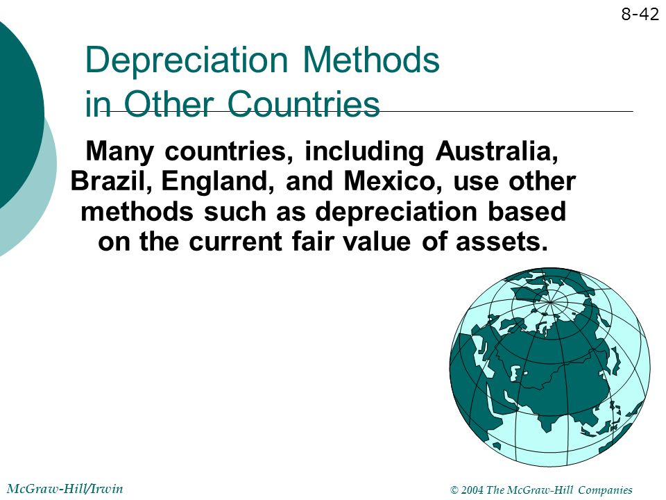 © 2004 The McGraw-Hill Companies McGraw-Hill/Irwin 8-42 Depreciation Methods in Other Countries Many countries, including Australia, Brazil, England,