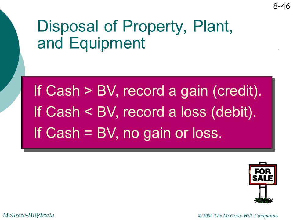 © 2004 The McGraw-Hill Companies McGraw-Hill/Irwin 8-46 If Cash > BV, record a gain (credit). If Cash < BV, record a loss (debit). If Cash = BV, no ga