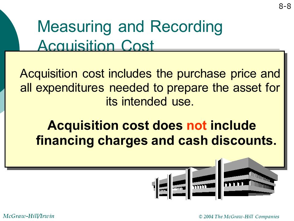 © 2004 The McGraw-Hill Companies McGraw-Hill/Irwin 8-8 Measuring and Recording Acquisition Cost Acquisition cost includes the purchase price and all e