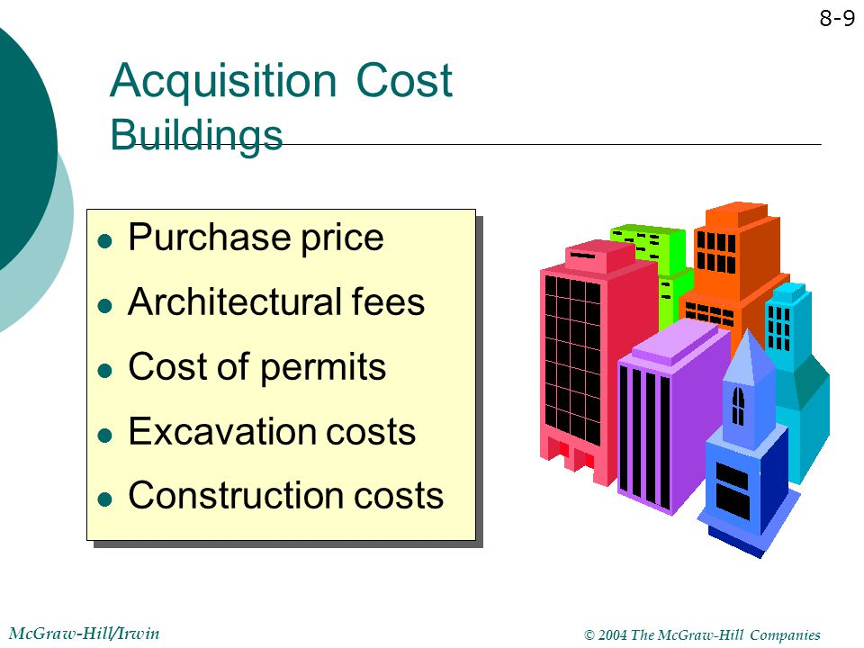 © 2004 The McGraw-Hill Companies McGraw-Hill/Irwin 8-9 Purchase price Architectural fees Cost of permits Excavation costs Construction costs Purchase
