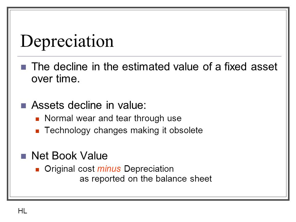 Depreciation The decline in the estimated value of a fixed asset over time.