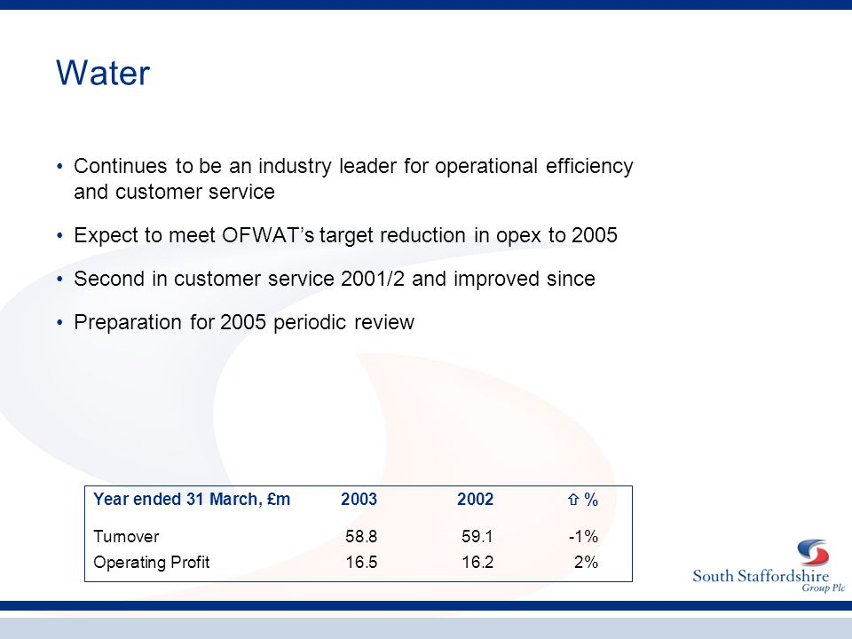 Water Continues to be an industry leader for operational efficiency and customer service Expect to meet OFWAT's target reduction in opex to 2005 Secon