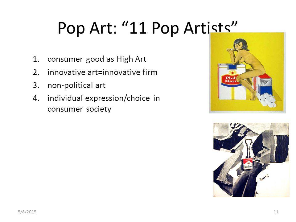 5/8/201511 Pop Art: 11 Pop Artists 1.consumer good as High Art 2.innovative art=innovative firm 3.non-political art 4.individual expression/choice in consumer society