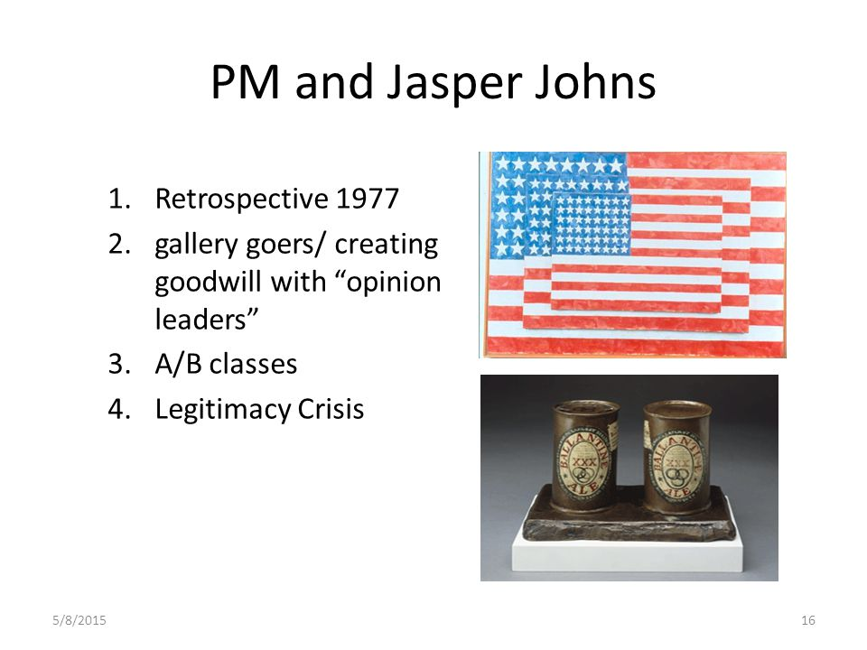 5/8/201516 PM and Jasper Johns 1.Retrospective 1977 2.gallery goers/ creating goodwill with opinion leaders 3.A/B classes 4.Legitimacy Crisis