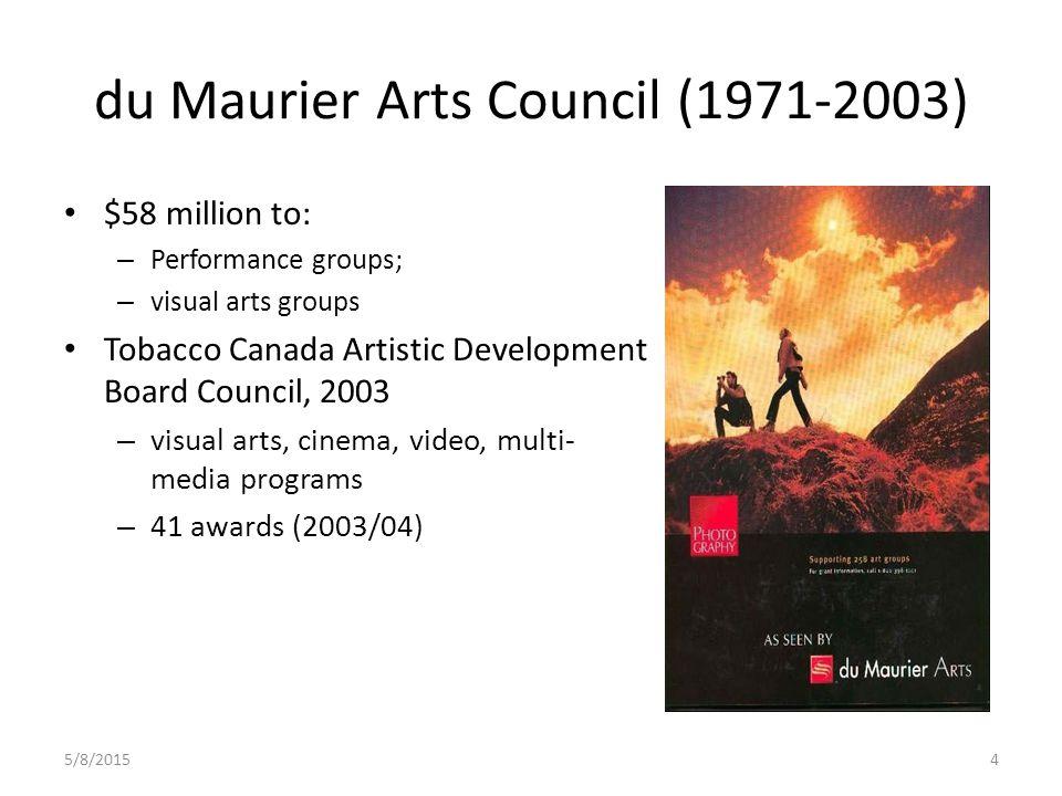5/8/20154 du Maurier Arts Council (1971-2003) $58 million to: – Performance groups; – visual arts groups Tobacco Canada Artistic Development Board Council, 2003 – visual arts, cinema, video, multi- media programs – 41 awards (2003/04)
