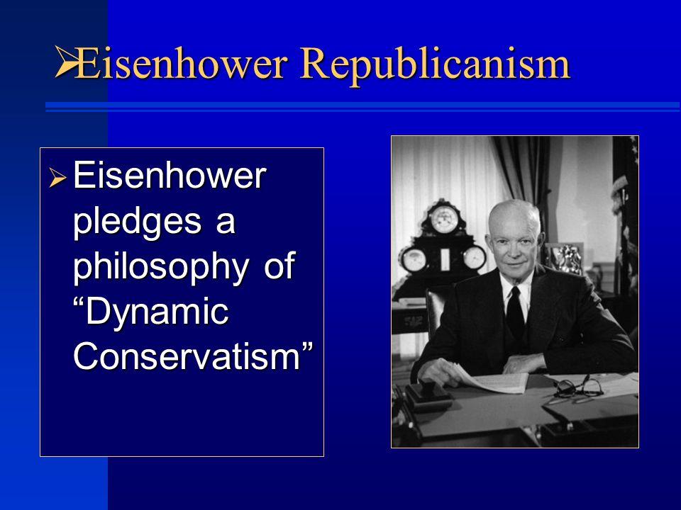  Eisenhower Republicanism  Eisenhower pledges a philosophy of Dynamic Conservatism