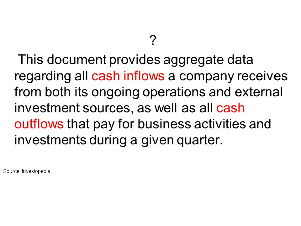 ? This document provides aggregate data regarding all cash inflows a company receives from both its ongoing operations and external investment sources