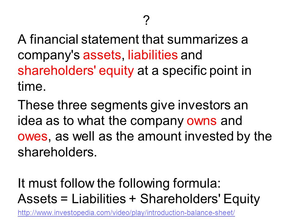 ? A financial statement that summarizes a company's assets, liabilities and shareholders' equity at a specific point in time. These three segments giv
