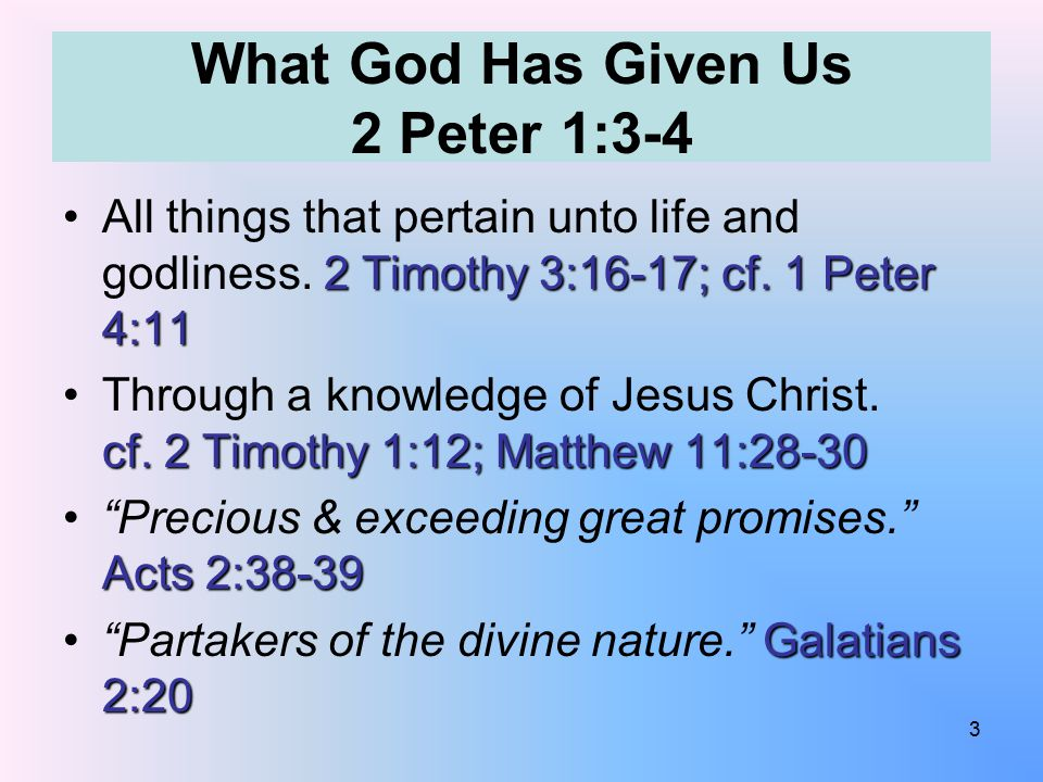 What God Has Given Us 2 Peter 1:3-4 2 Timothy 3:16-17; cf.