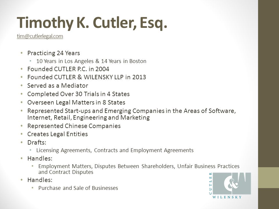 Timothy K. Cutler, Esq.