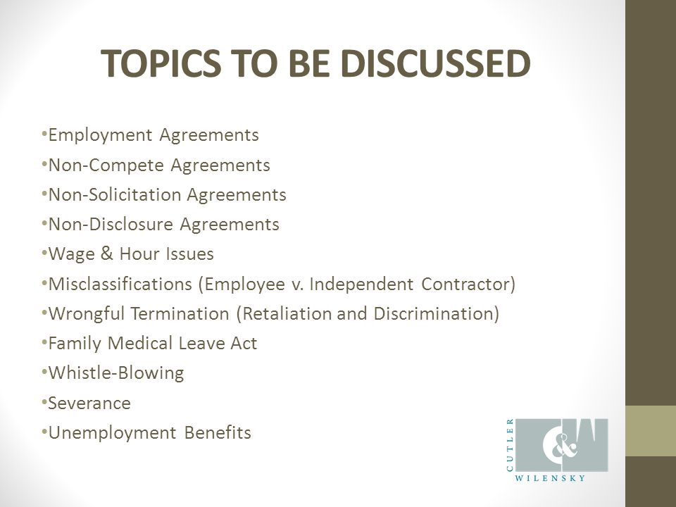 TOPICS TO BE DISCUSSED Employment Agreements Non-Compete Agreements Non-Solicitation Agreements Non-Disclosure Agreements Wage & Hour Issues Misclassifications (Employee v.