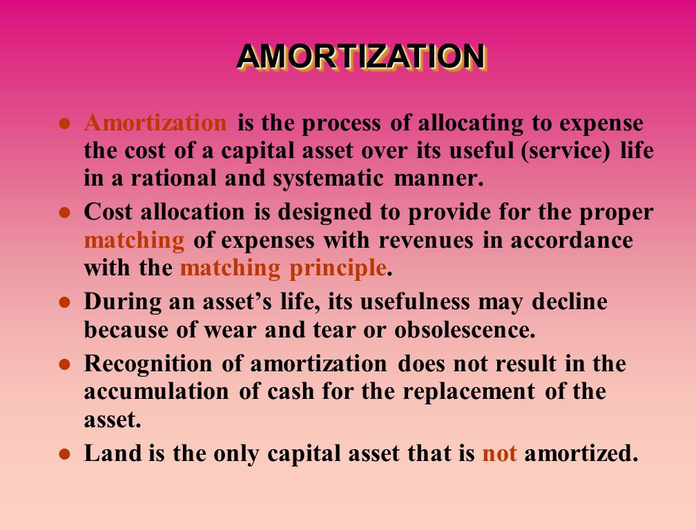 Amortization is the process of allocating to expense the cost of a capital asset over its useful (service) life in a rational and systematic manner.
