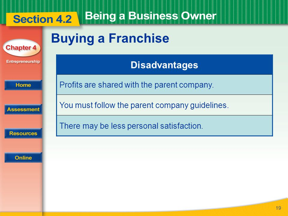 19 Buying a Franchise Disadvantages Profits are shared with the parent company. You must follow the parent company guidelines. There may be less perso
