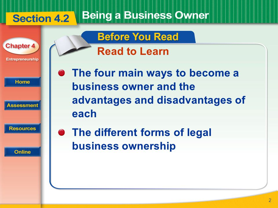 43 Section 4.2 After You Read 1.Name the four ways to become a business owner.