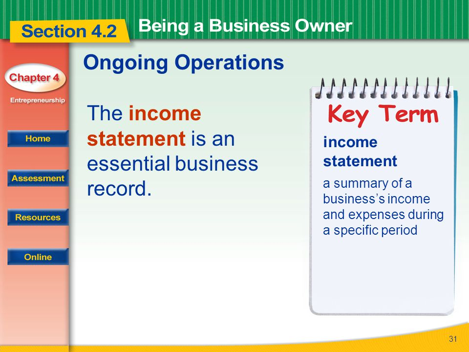 31 Ongoing Operations The income statement is an essential business record. income statement a summary of a business's income and expenses during a sp