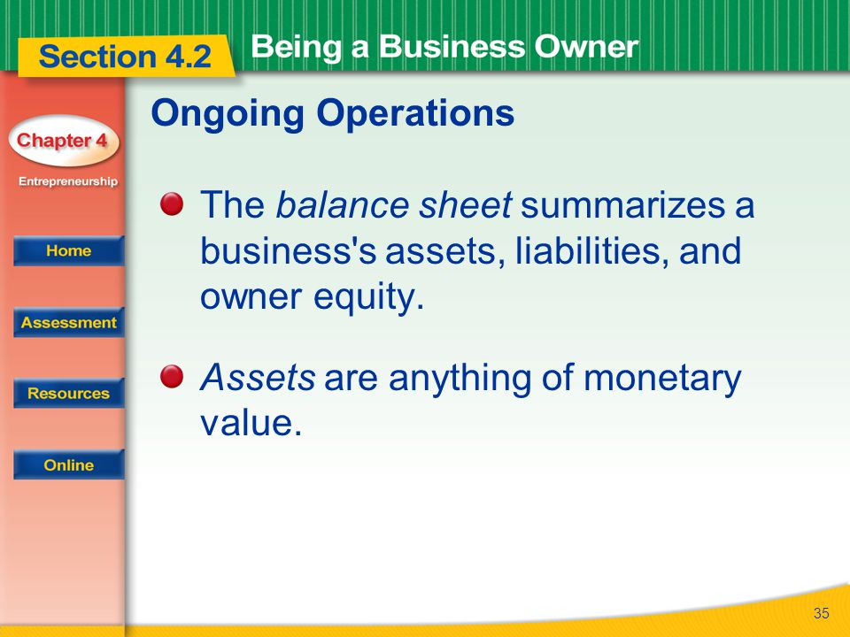 35 Ongoing Operations The balance sheet summarizes a business's assets, liabilities, and owner equity. Assets are anything of monetary value.