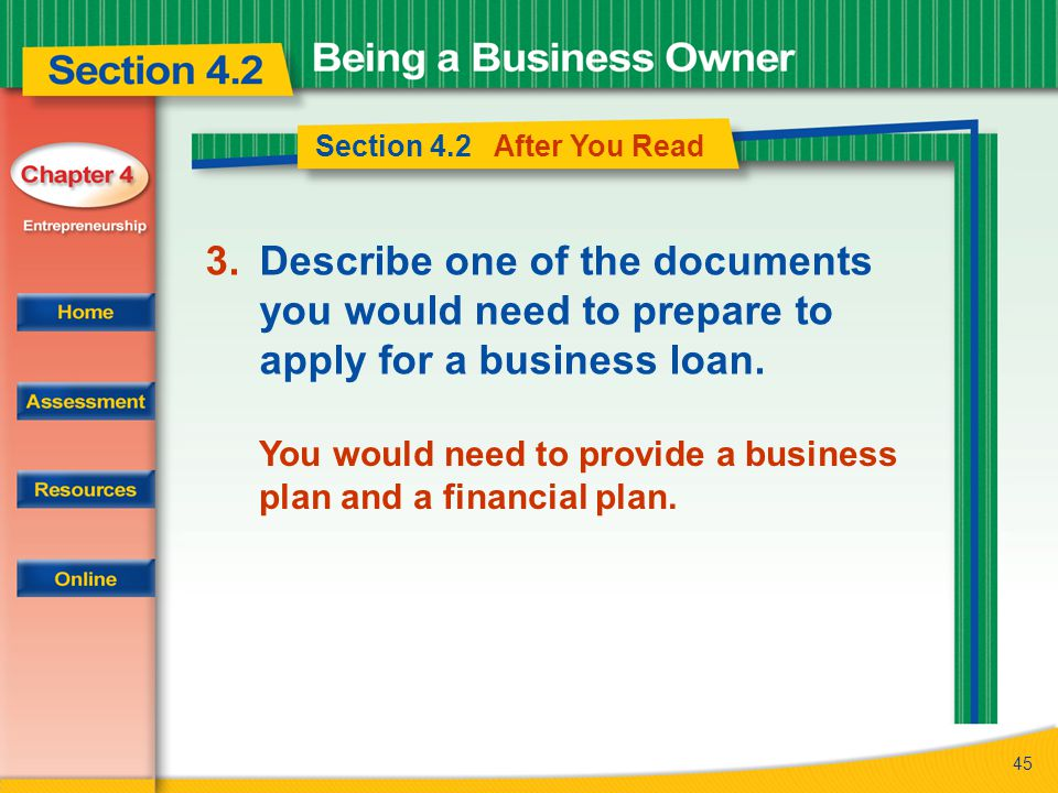 45 Section 4.2 After You Read 3.Describe one of the documents you would need to prepare to apply for a business loan. You would need to provide a busi