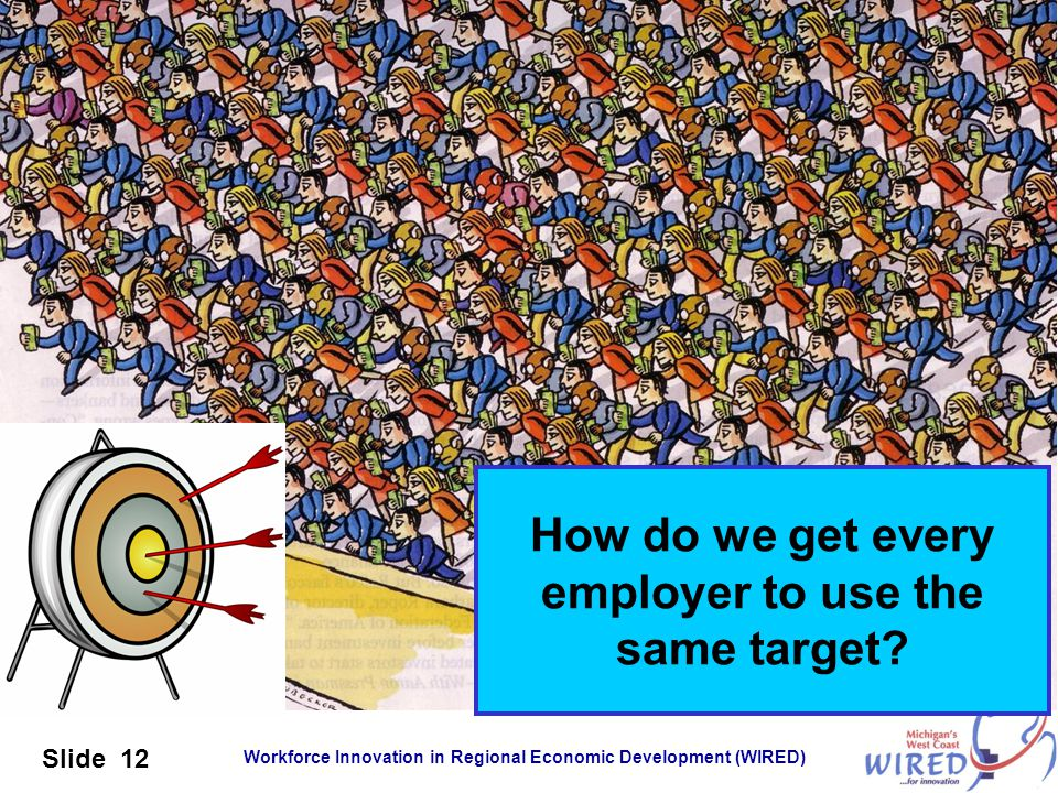 Workforce Innovation in Regional Economic Development (WIRED) Slide 12 How do we get every employer to use the same target?