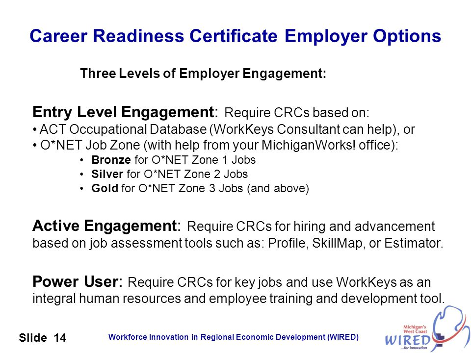 Workforce Innovation in Regional Economic Development (WIRED) Slide 14 Career Readiness Certificate Employer Options Three Levels of Employer Engageme