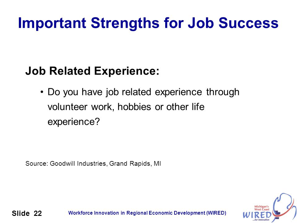 Workforce Innovation in Regional Economic Development (WIRED) Slide 22 Job Related Experience: Do you have job related experience through volunteer wo