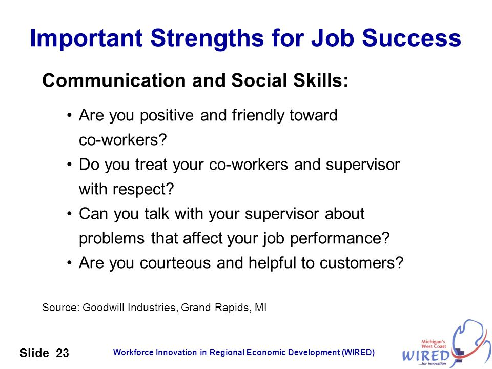 Workforce Innovation in Regional Economic Development (WIRED) Slide 23 Communication and Social Skills: Are you positive and friendly toward co-worker